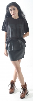 #peplum leather skirt